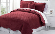 Brick Red Diamond Square Quilted Coverlet Bedspread Collection