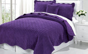 Purple Diamond Square Quilted Coverlet Bedspread Collection