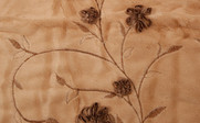 Light Camel Ribbon Embroidered Faux Fur Throw Close Up
