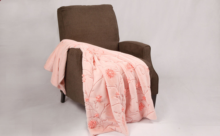 Pink Ribbon Embroidered Faux Fur Throw