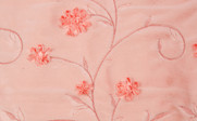 Light Pink Ribbon Embroidered Faux Fur Throw Close Up