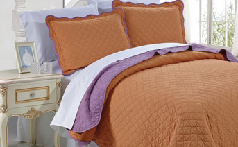 Burnt Orange and Purple Sound Solid Reversible Quilt Bedspread