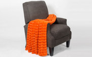 Burnt Orange Derby Double Sided Faux Fur Throw