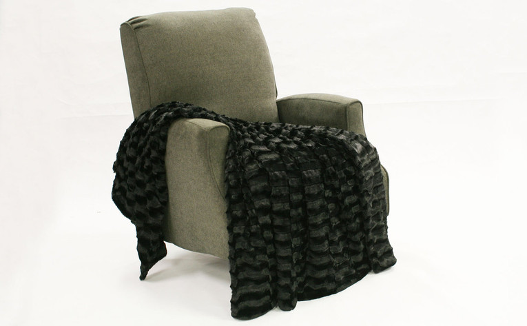 Black Saga Double Sided Faux Fur Throw