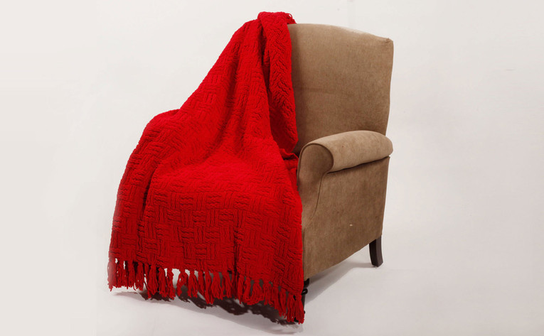 Red Cable Knitted Throw