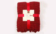 Burgundy Red Cable Knitted Throw Gift Pack