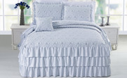 Blue Ruffle Matte Satin Bed Spread 4 Piece Set