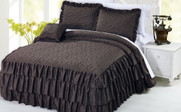 Chocolate Brown Ruffle Matte Satin Bed Spread 4 Piece Set Collection