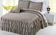 Taupe Beige Ruffle Matte Satin Bed Spread 4 Piece Set Collection