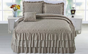 Taupe Beige Ruffle Matte Satin Bed Spread 4 Piece Set