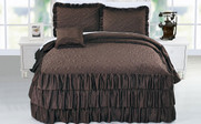 Chocolate Brown Ruffle Matte Satin Bed Spread 4 Piece Set