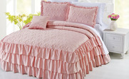 Pink Ruffle Matte Satin Bed Spread 4 Piece Set Collection