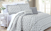 Gray Montgomery Quilted 7 Piece Bed Spread Set