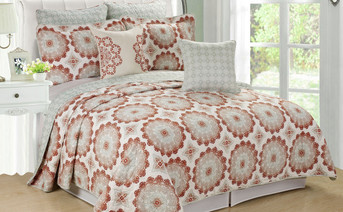Delia Quilted 7 Piece Bed Spread Set Collection