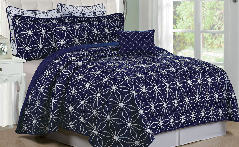 Memphis Quilted 7 Piece Bed Spread Set Collection