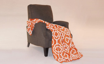 Burnt Orange Jacquard Sherpa Throw