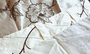 Magnolia Embroidery Curtain Folded Over