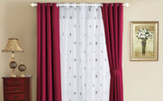 Burgundy Fleur De Lis Wide Width Thermal Insulated Blackout Curtain