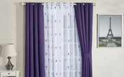Imperial Purple Fleur De Lis Wide Width Thermal Insulated Blackout Curtain