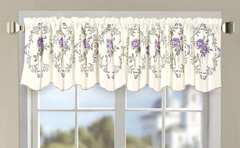 Lilac Roses Embroidery Window Curtain Valance