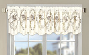 Taupe Roses Embroidery Window Curtain Valance