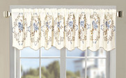 Grey Blue Roses Embroidery Window Curtain Valance