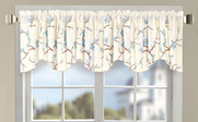 Light Blue Cherry Blossom Embroidery Window Curtain Valance