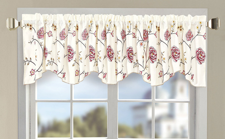 Burgundy Spring Flower Embroidery Window Curtain Valance