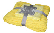Butter Cup Super 18 Cable Throw & Pillow Shell 3 Piece Combo Set Pack