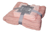 Rose Quartz Super 18 Cable Throw & Pillow Shell 3 Piece Combo Set Pack