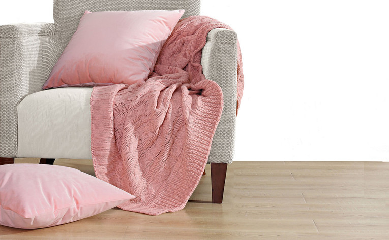 Rose Quartz Super 18 Cable Throw & Pillow Shell 3 Piece Combo Set