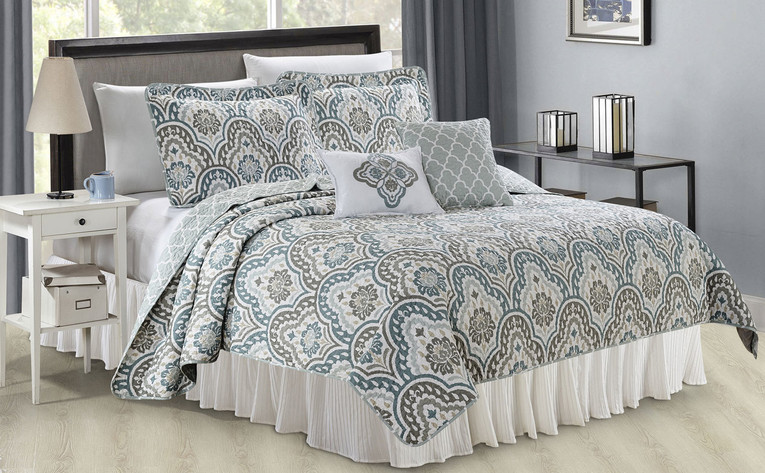 Tivoli Ikat Quilted 5 Piece Bed Spread Set