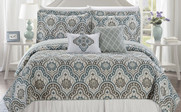 Tivoli Ikat Quilted 5 Piece Bed Spread Set Front