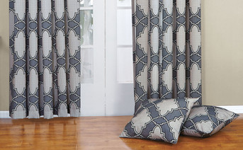 Steel Gray Dobson Curtain and Throw Pillow Shell Combo Set