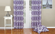 Lavender Honor Curtain and Throw Pillow Set Combo