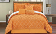 Apricot Ogee Faux Fur Embroidered 7 Piece Bed Spread Set