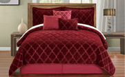 Burgundy Ogee Faux Fur Embroidered 7 Piece Bed Spread Set