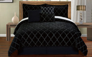 Black Ogee Faux Fur Embroidered 7 Piece Bed Spread Set