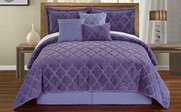 Daybreak Ogee Faux Fur Embroidered 7 Piece Bed Spread Set