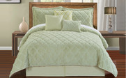 Light Green Ogee Faux Fur Embroidered 7 Piece Bed Spread Set