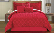 Tango Red Ogee Faux Fur Embroidered 7 Piece Bed Spread Set