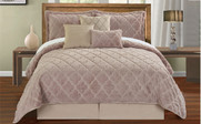 Taupe Ogee Faux Fur Embroidered 7 Piece Bed Spread Set