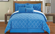 Palace Blue Ogee Faux Fur Embroidered 7 Piece Bed Spread Set