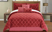 Dusty Cedar Ogee Faux Fur Embroidered 7 Piece Bed Spread Set