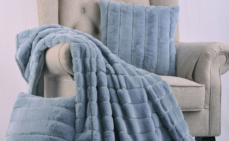 Ashley Blue Rabbit Faux Fur Throw & Pillow Combo Set