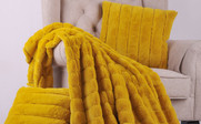 Lemon Curry Rabbit Faux Fur Throw & Pillow Combo Set