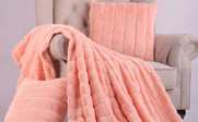Peach Eco Rabbit Faux Fur Throw & Pillow Combo Set