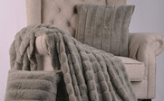 Silver Rabbit Faux Fur Throw & Pillow Combo Set