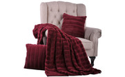 Burgundy Rabbit Faux Fur Throw & Pillow Combo Detail Set