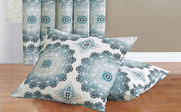 Midnight Delia Curtain & Throw Pillow Shell Combo Set Throw Pillow Shells